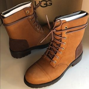 New Ugg Kilmer Chestnut leather $ suede Laced up 5